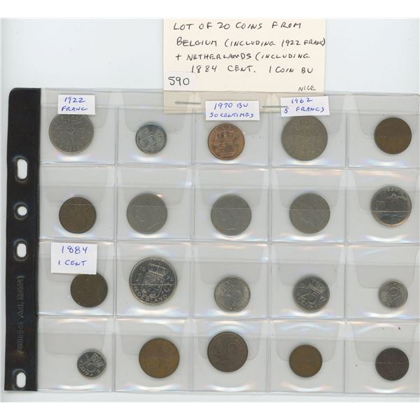 Lot of 20 coins: 10 from Belgium (including 1922 Franc) & 10 from Netherlands (including 1884 cent).