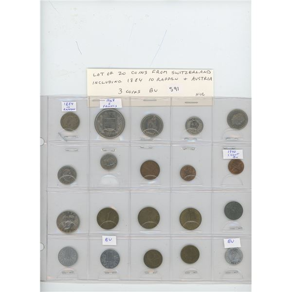 Lot of 20 coins: 10 from Switzerland including 1884 10 rappen & 10 from Austria. 3 coins BU. Nice.