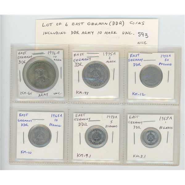 Lot of 6 East German (DDR) coins including uncirculated 1976A 10 mark celebrating the East German mi
