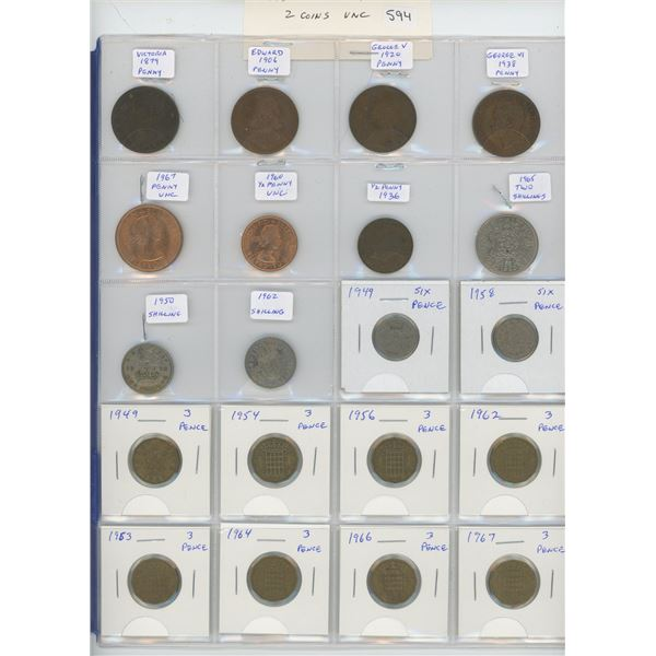 Lot of 20 British coins including 1879 Queen Victoria penny, 1906 VII Edward penny, & 1936 George V