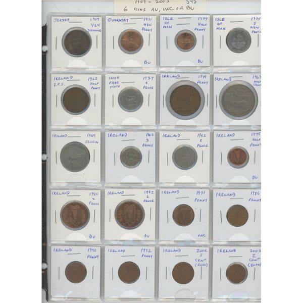 Lot of 20 coins from Jersey (including 1909 1/24 shilling), Guernsey, Isle of Man, Irish Free State