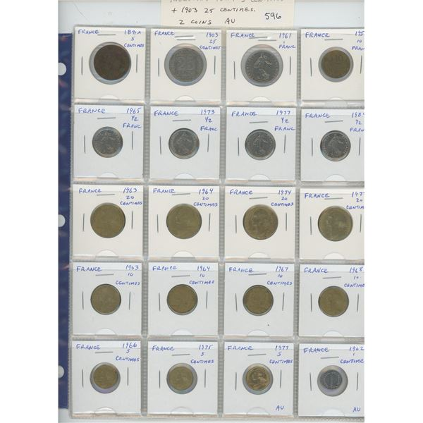 Lot of 20 French coins including 1871A 5 centimes & 1903 25 centimes. 2 coins are AU. Nice.