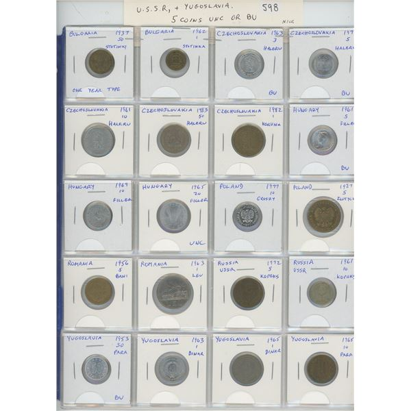 Lot of 20 different Eastern European coins from Bulgaria (including 1937 50 stotinki), Czechoslovaki