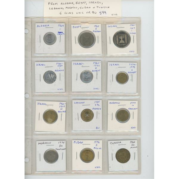 Lot of 12 Middle East coins from Algeria, Egypt, Israel, Lebanon, Morocco, Sudan & Tunisia. 6 coins