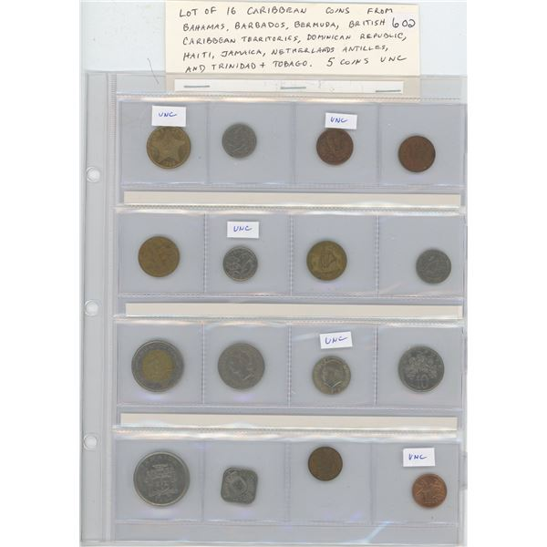 Lot of 16 Caribbean coins from Bahamas, Barbados, Bermuda, British Caribbean Territories, Dominican