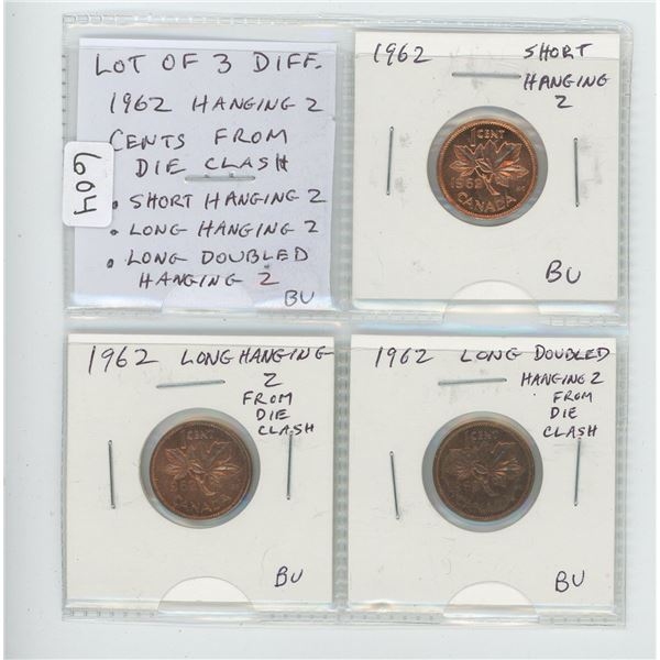 Lot of 3 different 1962 Hanging 2 small cents. All are the result of Clashed Dies and include Short