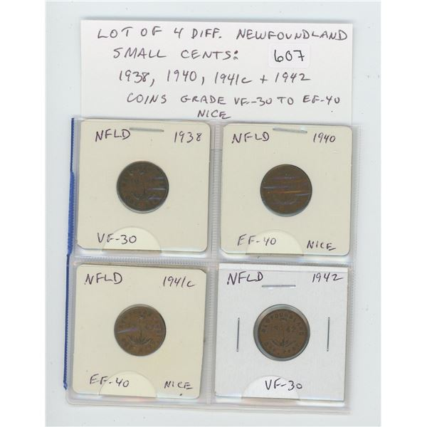 Lot of 4 different Newfoundland Small Cents: 1938, 1940, 1941c & 1942. Coins grade VF-30 to EF-40. N