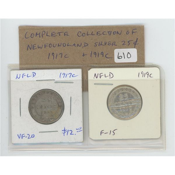 Complete Collection of Newfoundland Silver 25 cents. Includes both 1917c and 1919c. Coins grade VF-2