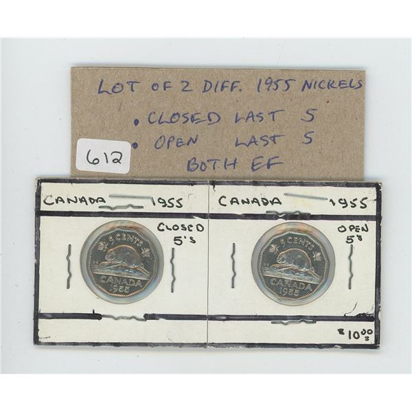 Lot of 2 different 1955 Canadian Nickel 5 cents. Includes Closed Last 5 in date and Open Last 5 in d