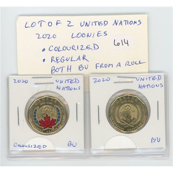 Lot of 2 2020 United Nations Loonies. Includes red & blue Colourized as well as regular. Both BU fro