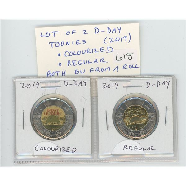 Lot of 2 2019 D-Day Toonies. Includes Colourized D-Day helmet as well as regular. Both BU from an or