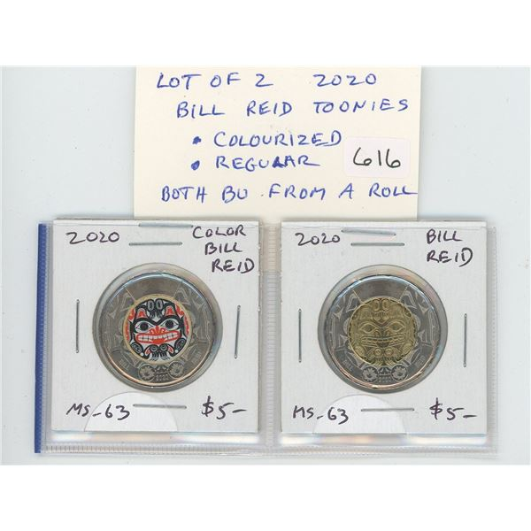 Lot of 2 2020 Bill Reid Toonies. Includes Colourized and regular. Both BU from an original roll. Nic