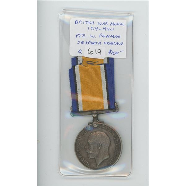 British War Medal 1914-1920. Issued to Private W. Penman of the Seaforth Highlanders. World War I me