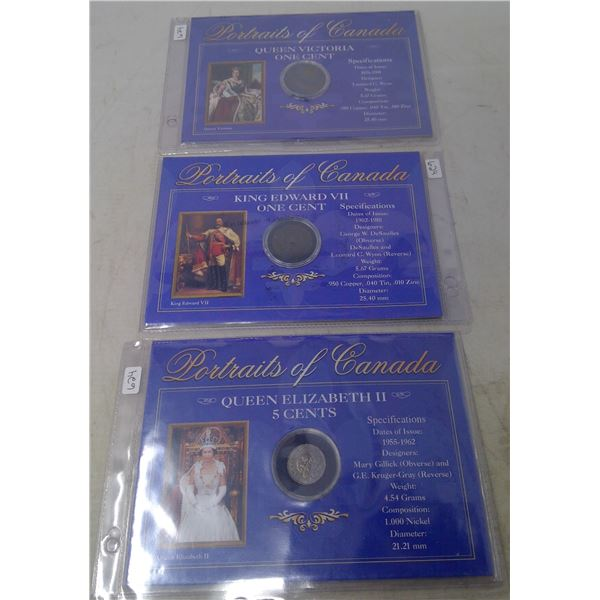 Lot of 3 Portraits of Canada coins. Includes Queen Victoria large cent, King Edward VII large cent a