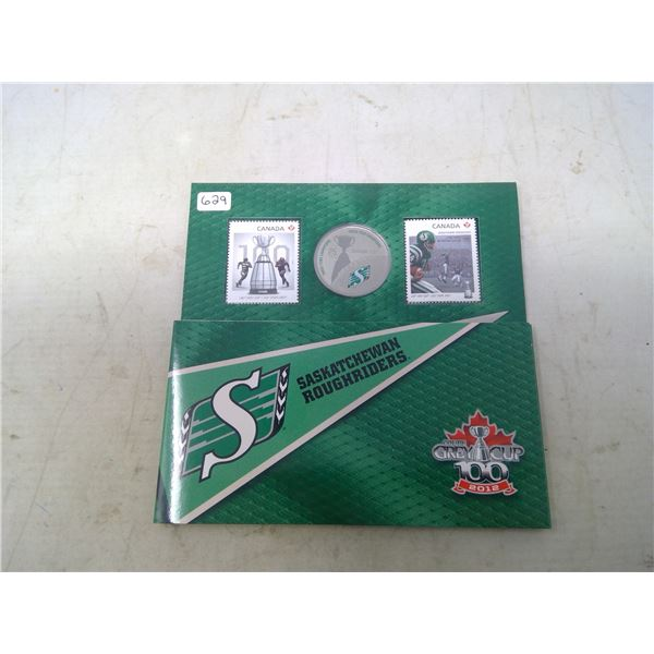 2012 Saskatchewan Roughriders 25 cents coin and stamp set. Only 15,700 sold. Coin depicts Grey Cup w