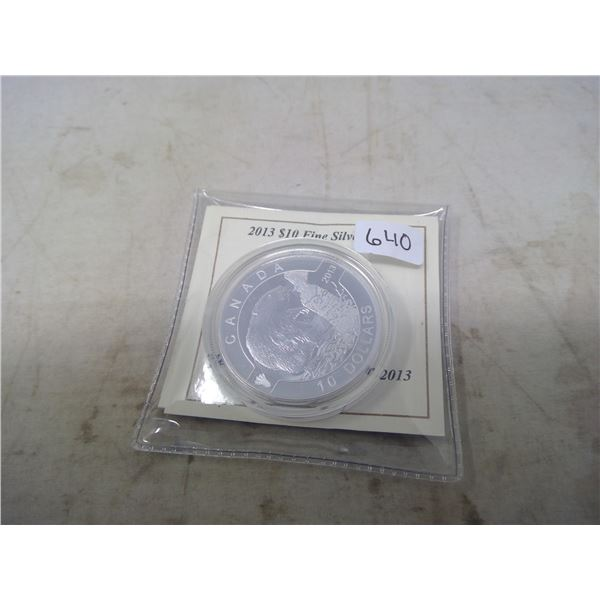 2013 The Beaver $10. .9999 pure silver. Housed in a hard plastic holder. Proof. Only 38,560 sold. Ni
