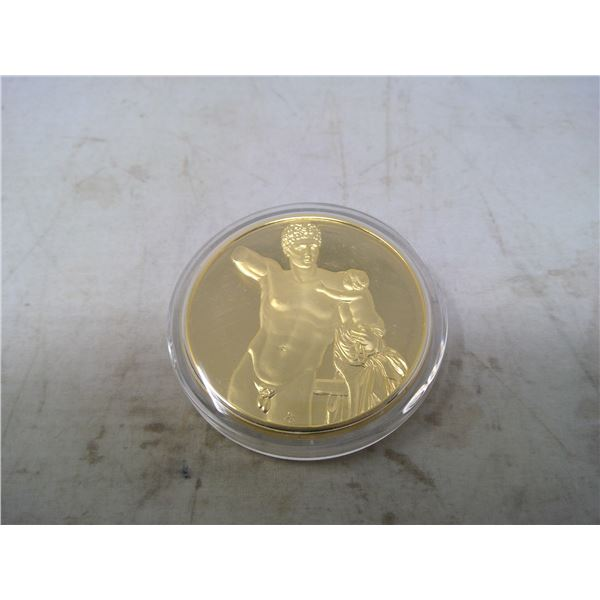 Hermes with the infant Dionysos. From the Ancient Greece medals series. A beautiful gold-plated bron