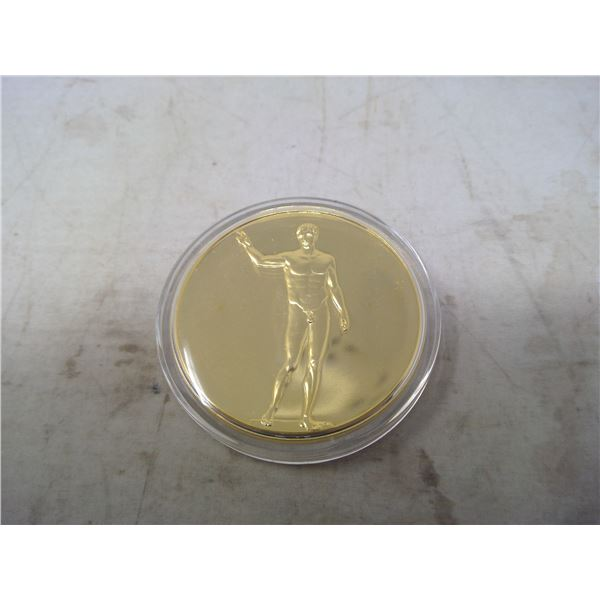 Ephebe of Antikythera. From the Ancient Greece medals series. A beautiful gold-plated bronze medal m