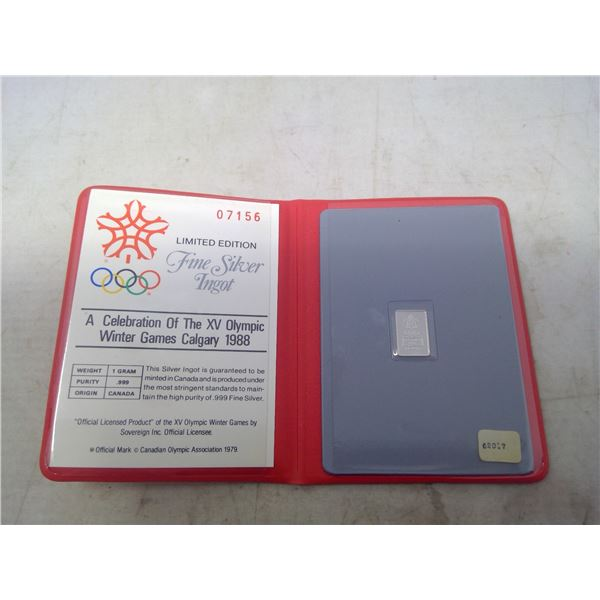 Official Limited Edition Commemorative Silver Ingot of the 1988 Calgary Olympics. One gram .999 pure