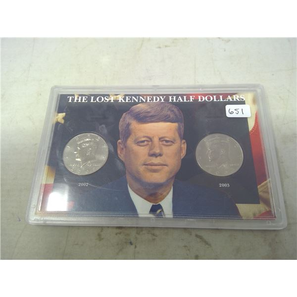 The Lost Kennedy Half Dollars. Set of 2, includes 2002D & 2003D half dollars, were not released into