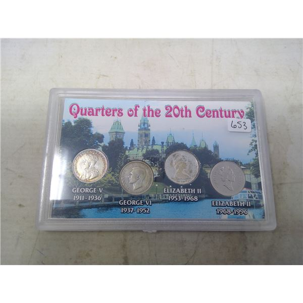 Canadian Quarters of the 20th Century. Set of 4 includes George V, George VI, Elizabeth (silver) and