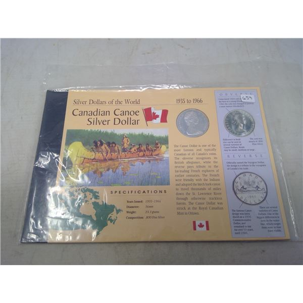 Silver Dollars of the World: Canadian Canoe Silver Dollar 1935 to 1966. 1966 Silver Dollar pays trib