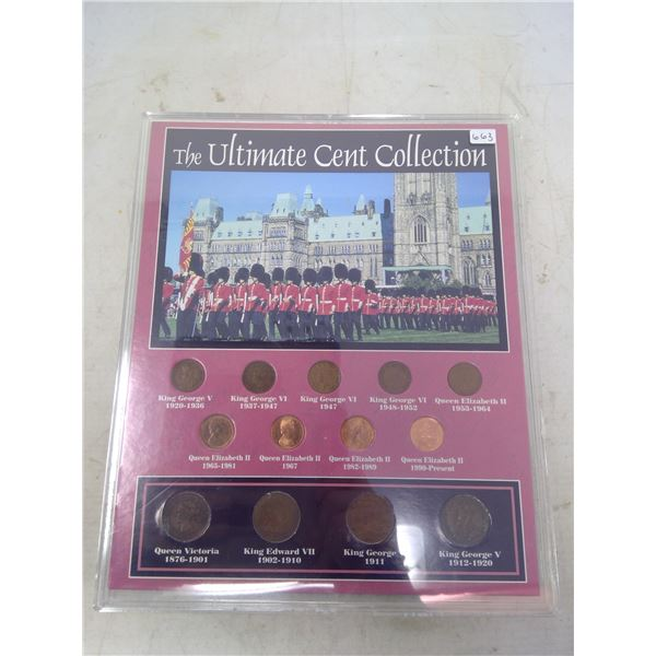 The Ultimate Cent Collection: 9 different Canadian small cents from George V, George VI & Queen Eliz