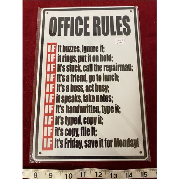 Office Rules Sign