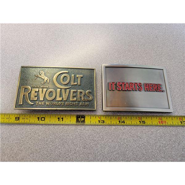 2 belt buckles - Colt revolvers & Molson Canadian beer