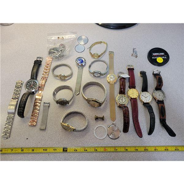 Jar of watches - various makes & descriptions