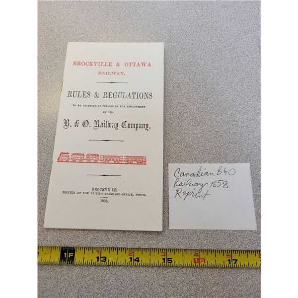 Canadian B&O railway company 1858 reprint rules&regulations