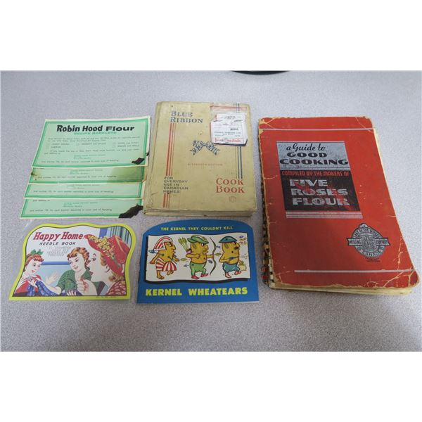 Old cook books, coupons, handy sewing kits