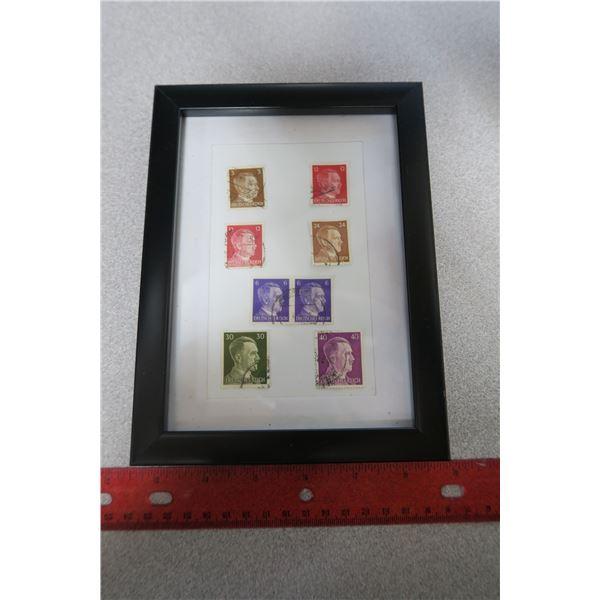 WWII Hitler postage stamps - framed