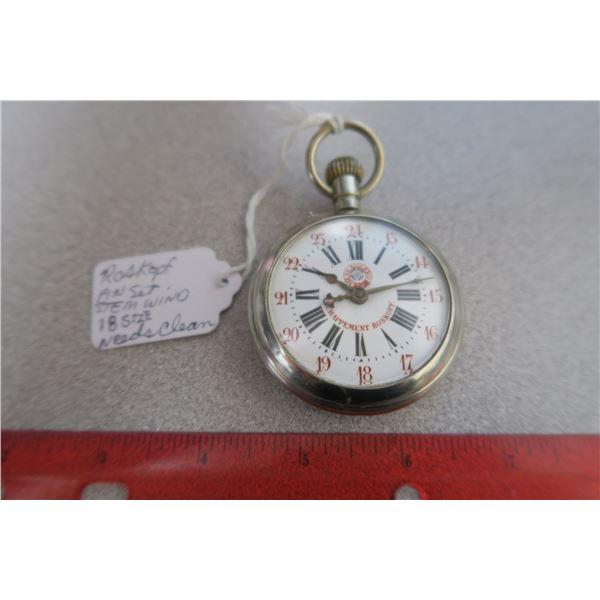 Roskopf 18 size pinset stem wind pocket watch - needs cleaning