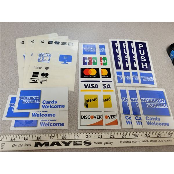 misc. retail store stickers, AMEX, Visa etc.