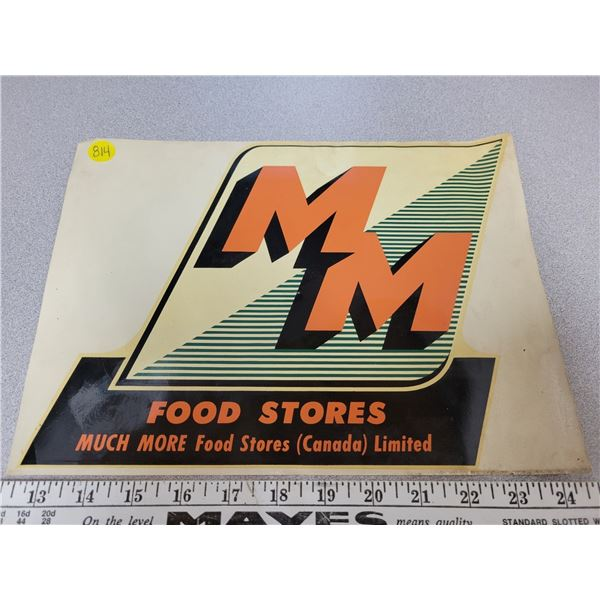 "MM food store decal 9"" X 12"""