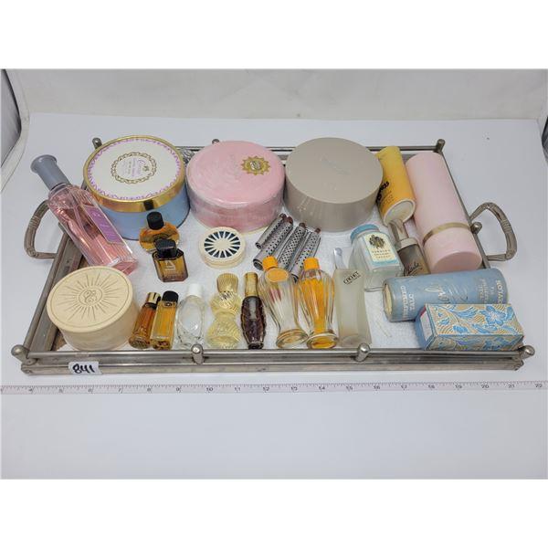 Vintage vanity tray with 22 perfumes & 4 curlers
