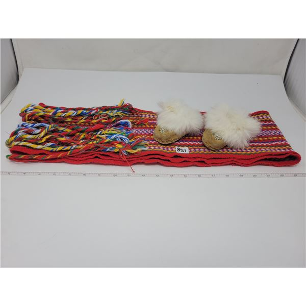 Baby moccasins 4 inches long & Metish sash