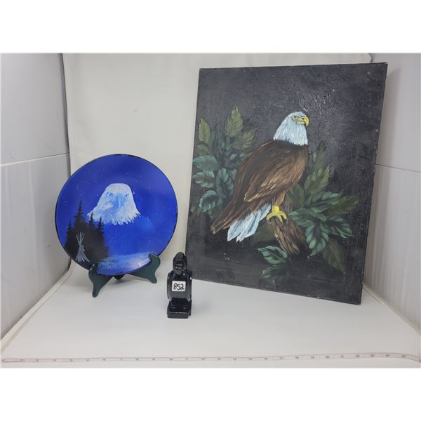 2 original Eagle paintings & plate stand & Thunderbird carving - canvas 16X20