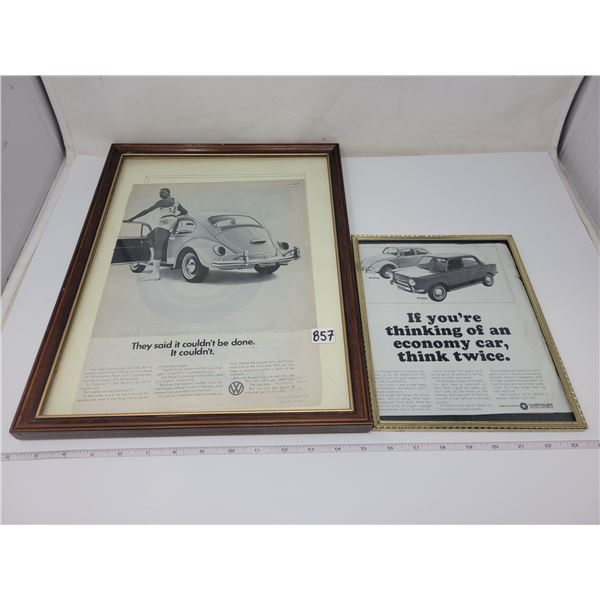 2 VW car ads, framed