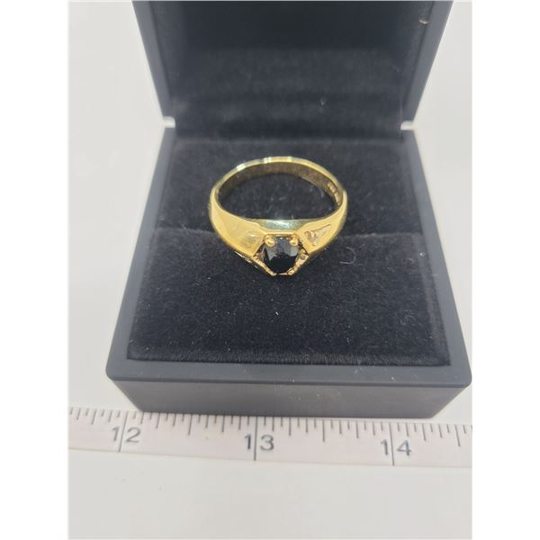 10K Gold electro plated garnet men's ring - size 13