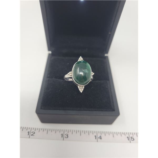 Dark green Zoisite ring - approx 3 karats with crystal in the middle - .925 silver mount - size 10.5