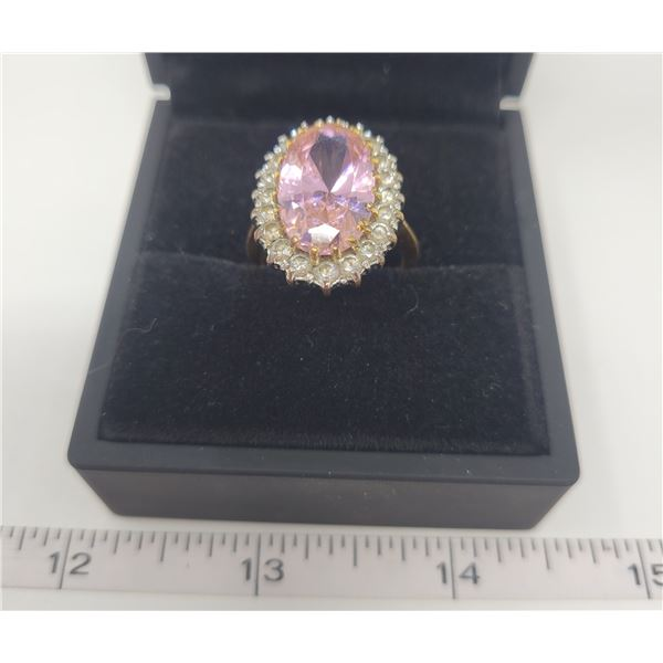14k gold electro plated pink tourmaline ring approx. 5 karat - surrounded by 20 white Tourmaline - s