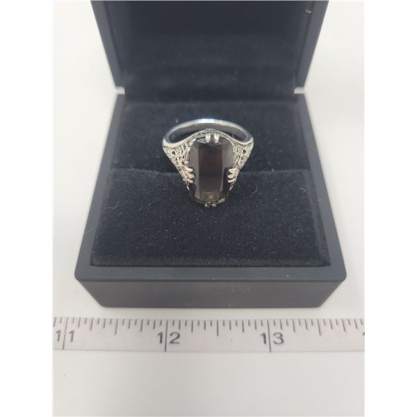 Chocolate Topaz ring - approx 3 karat - .925 filigree setting, size 9