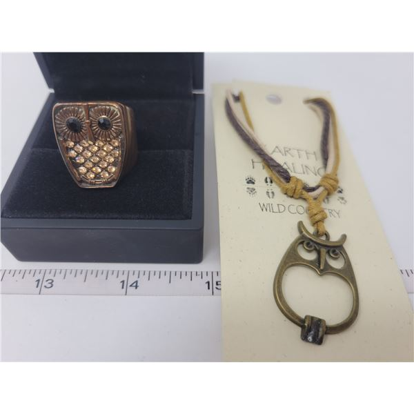 Brass & copper owl necklace, ring - size 6.5
