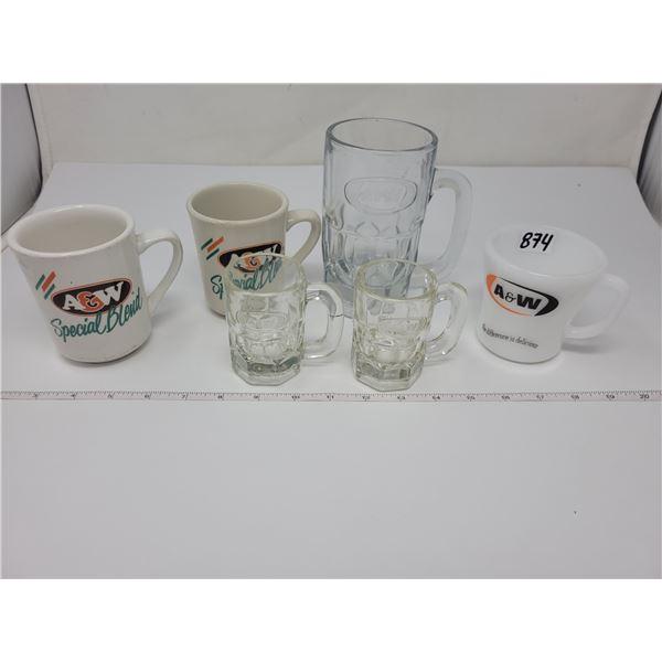 6 A & W mugs
