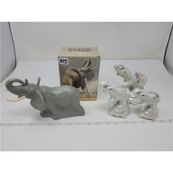 Avon majestic elephant (full) & 3 elephant figurines