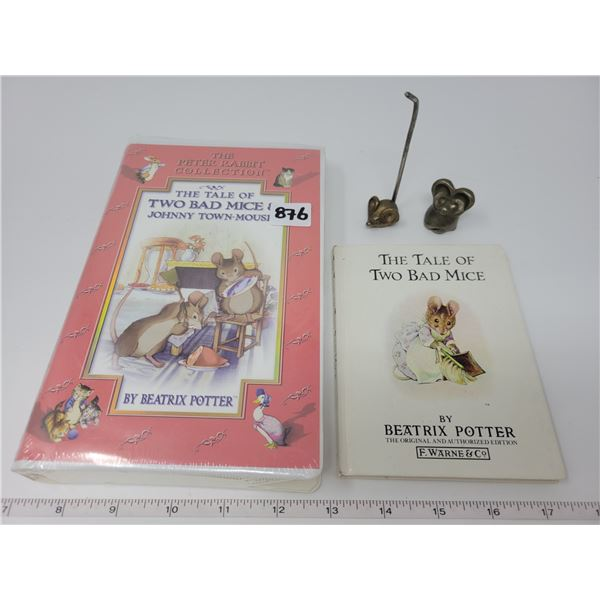 Beatrix Potter - book & movie (sealed) & 2 brass mice