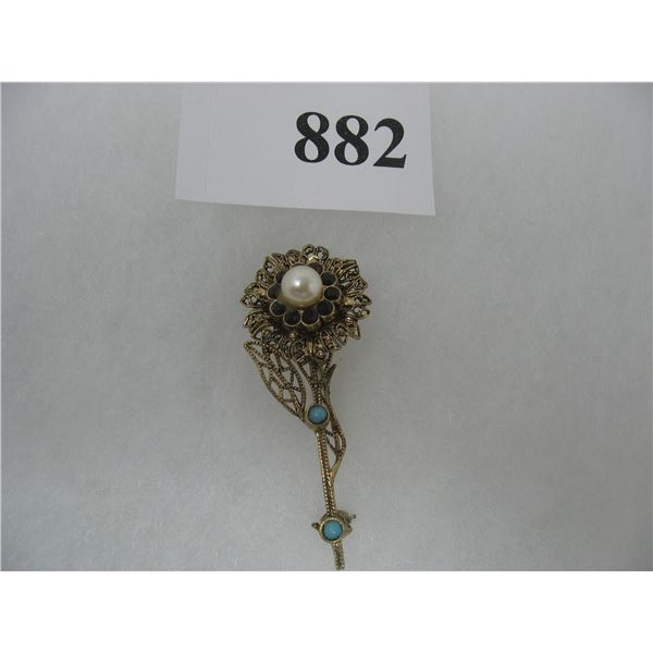 VINTAGE LOOKING  BROOCH PIN - FLORAL DESIGN