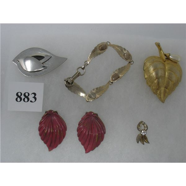 COSTUME JEWELRY - LOT OF 6 LEAF DESIGN - Clips,  Bracelet, Brooches,  and Pin